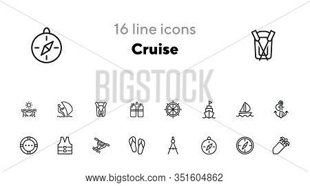 Cruise Icons. Set Of Line Icons On White Background. Compass, Rafting, Anchor, Life Saver Ring. Sea