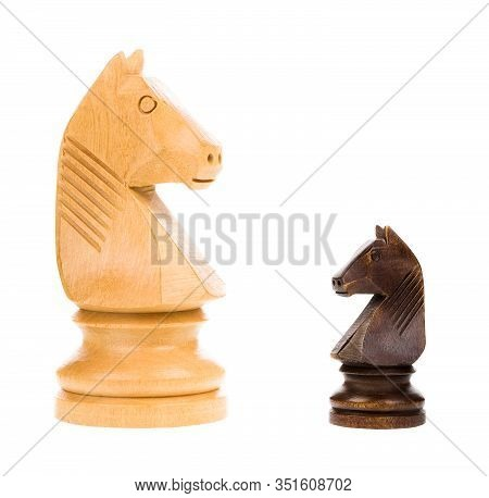 Chess Knights Isolated On White Background - Concept