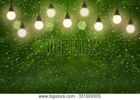 Green Cute Bright Abstract Background Light Bulbs With Sparks Fly Defocused Bokeh - Celebratory Mock