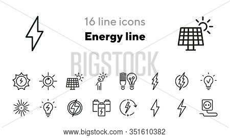 Energy Line Icons. Set Of Line Icons. Electric Socket, Energy Storage, Laser Lightning. Energy Conce