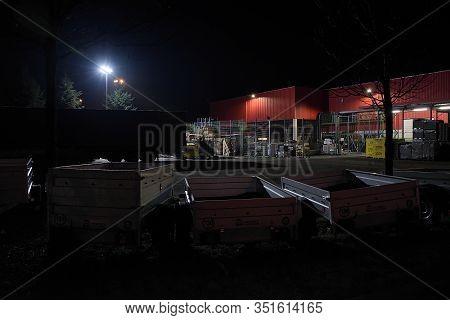 Chomutov, Czech Republic - February 08, 2020: Foggy Night In Empty Shop Areal