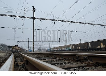 Chomutov, Czech Republic - February 09, 2020: Foggy Day On Empty Freight Train Station