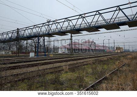 Chomutov, Czech Republic - February 09, 2020: Foggy Day On Empty Train Station