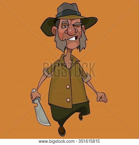 Cartoon Walking Displeased Man With Cleaver In His Hand