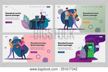 Male Criminal Set. Man Stealing Personal Data, Attacking Woman. Flat Vector Illustrations. Crime, Th