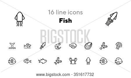 Fish Line Icon Set. Set Of Line Icons On White Background. Maritime Concept. Shell, Turtle, Fish, Wh