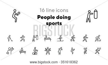 People Doing Sports Line Icon Set. Set Of Line Icons On White Background. Baseball, Boxing, Golfer.