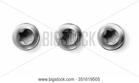 Set Metal Torx Screw, Bolt With A Cylindrical Head. Shiny Cap Twisted In Surface Isolated On White B