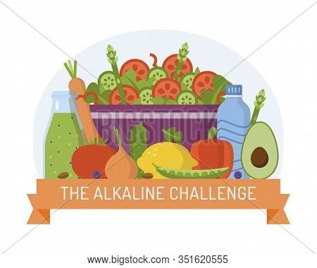 Badge For Alkaline Challenge. Alkaline Diet Concept. Flat Design. Vector Illustration.