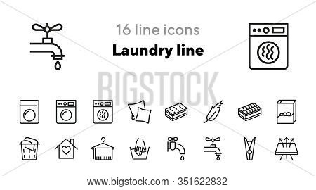 Laundry Line Icons. Set Of Line Icons. Breathing Fabric, Hand Washing, Two Pillows. Laundry Concept.