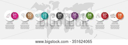 Vector Template Circle Infographics. Business Concept With 8 Options And Parts. Eight Steps For Grap