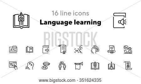 Language Learning Line Icon Set. Book, Diploma, Interpreting. Education Concept. Can Be Used For Top