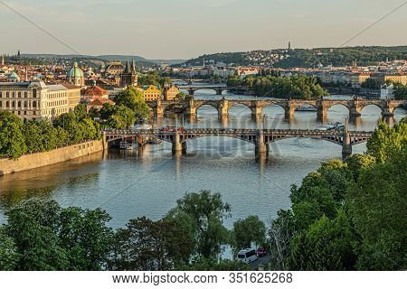 Prague / Czech Republic - May 23 2019: Scenic View Of The Cityscape, The River Vltava And Charles Br