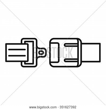 Car Seatbelt Icon. Outline Car Seatbelt Vector Icon For Web Design Isolated On White Background