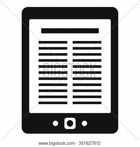 Library Ebook Icon. Simple Illustration Of Library Ebook Vector Icon For Web Design Isolated On Whit