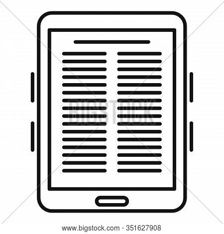 Paper Ebook Icon. Outline Paper Ebook Vector Icon For Web Design Isolated On White Background