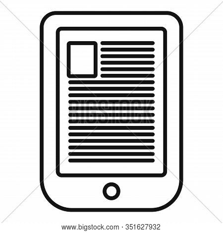 Digital Ebook Icon. Outline Digital Ebook Vector Icon For Web Design Isolated On White Background