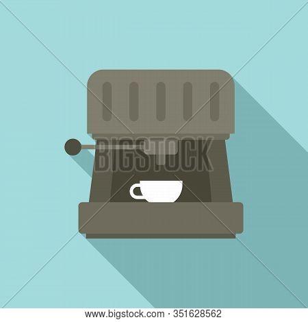 Cappuccino Machine Icon. Flat Illustration Of Cappuccino Machine Vector Icon For Web Design