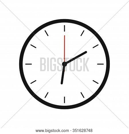 Clock Vector Illustration On White Background. Office Clock Illustration.  Countdown Clock Counter T