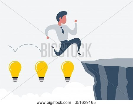 Business Man Jumping Over Cliff Gap. Concept Of Business Risk And Success. Business Competition Vect