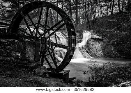 Mcgaillard Falls At Mcgaillard Park Valdese, Nc With Old Water Wheel Tha Ran  Meytre Grist Mill