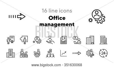 Office Management Line Icon Set. Entrepreneur, Workplace, Occupation. Development Concept. Can Be Us