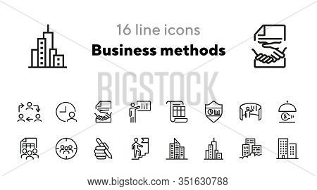Business Methods Line Icon Set. Office Building, Team, Staff, Idea. Business Concept. Can Be Used Fo