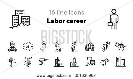 Labor Career Line Icon Set. Technician, Mechanic, Tool, Wrench, Drill, Hammer. Mechanical Work Conce