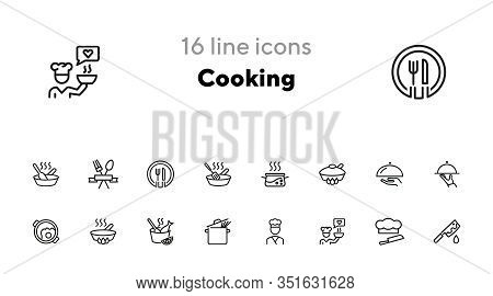 Cooking Line Icon Set. Saucepan, Dish, Cook. Food Concept. Can Be Used For Topics Like Restaurant, M