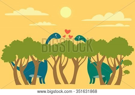 Two Cute Brachiosaurus Dinosaurs Met Eyes On The Tops Of Trees And Fell In Love