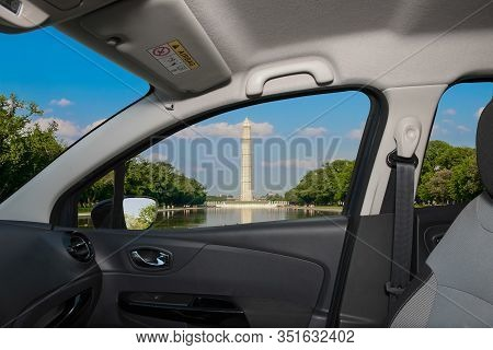 Looking Through A Car Window With View Of The Washington Monument And Reflecting Pool, Washington Dc
