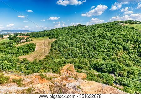 Aerial View Of A Beautiful Landscape Around The Town Of Bagno Vignoni, Province Of Siena, Tuscany, I
