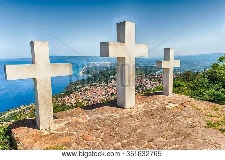 Three Crosses On The Top Of Mount Sant'elia, Palmi, Italy