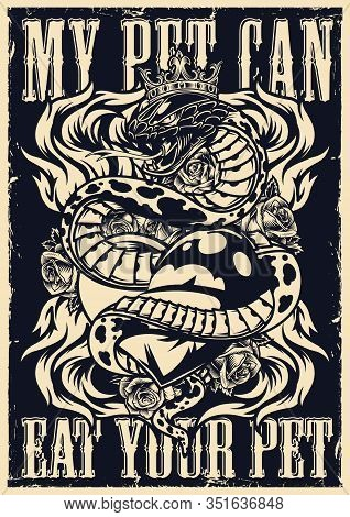 Vintage Monochrome Flash Tattoo Poster With Beautiful Roses Flame And Poisonous Snake In Royal Crown