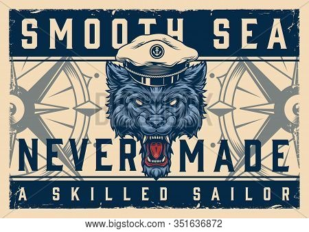 Colorful Nautical Horizontal Template With Ferocious Wolf Head In Sea Captain Hat In Vintage Style V