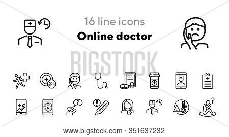Online Doctor Line Icon Set. Toothache, Remedy, High Body Temperature. Medicine Concept. Can Be Used