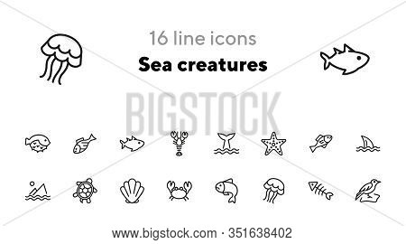 Sea Creatures Line Icon Set. Set Of Line Icons On White Background. Maritime Concept. Shell, Turtle,
