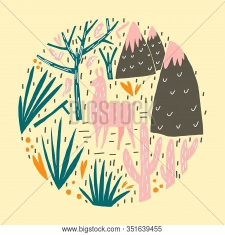 Cute Lama, Plant And Mountains Composition. Vector Template For Cover, Poster, Print And Other Users