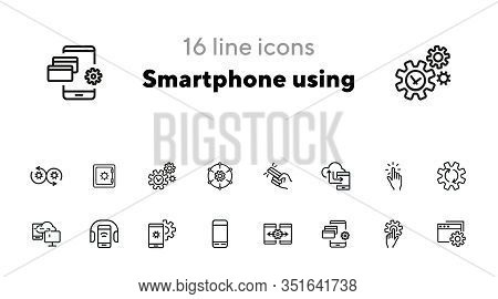 Smartphone Using Line Icon Set. Audio Content, Wireless Connection, Settings. Mobile Technology Conc