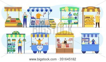Street Shops Stall Market, Vendor Booths And Farm Market Food Counters Vector Flat Cartoon Icons Set