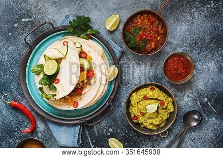Vegetarian Breakfast Burrito And Ingredients. Homemade Tortillas Stacks With Veggie Mince, Vegetable