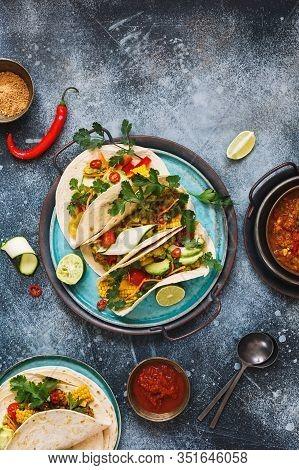 Healthy Vegan Tacos Made With With Lentils, Pico De Gallo Sauce,  Vegetables, Avocado And Guacamole,