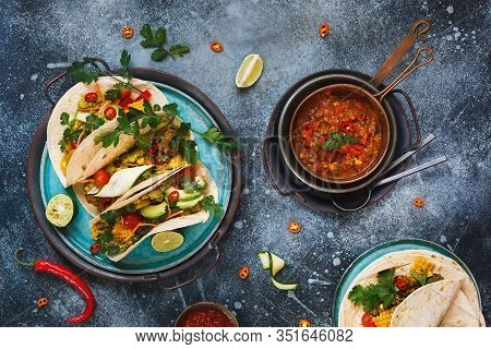 Vegetarian Tacos. Variety Of Vegetarian  Tacos With Vegetables, Avocado, Chili Pepper, Lentil, Guaca