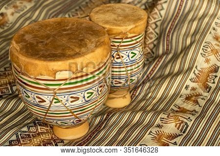 Horizontal View Of Moroccan Handmade Bongos, Made Of Ceramic And Leather. Natural Light. Concept Of