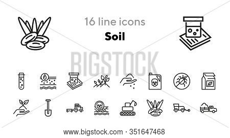 Soil Line Icon Set. Pesticide, Chemical, Seeding. Farm Concept. Can Be Used For Topics Like Gardenin