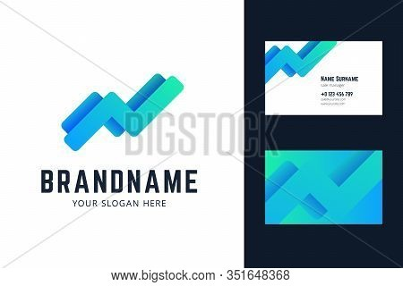 Logo And Business Card Template With Growing Trend, Chart Lines.