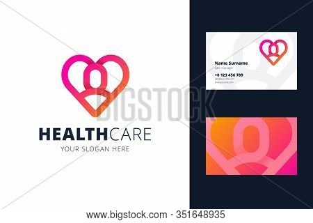 Health Care Logo And Business Card Template. Heart And Man Shapes In Origami, Line Style. Logotype F