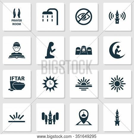 Ramadan Icons Set With Room, Tower, Audio And Other Pinpoint Elements. Isolated Vector Illustration