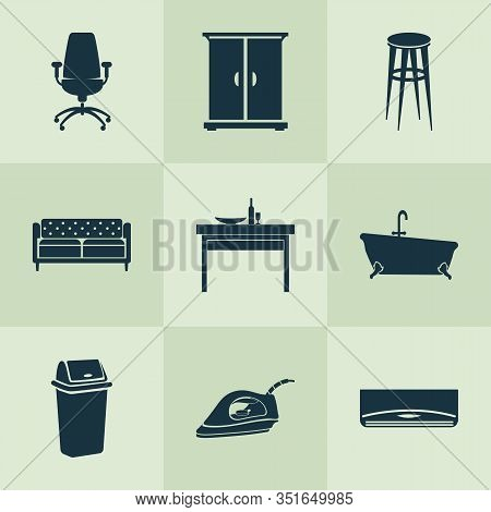 Home Decoration Icons Set With Trash Bin, Couch, Office Chair And Other Ergonomic Armchair Elements.