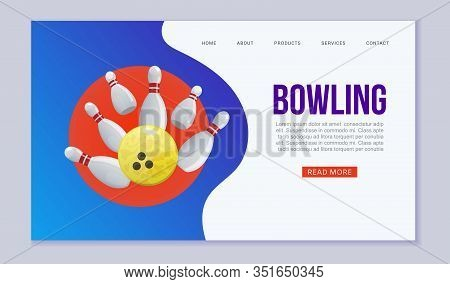 Bowling Web Vector Template Illustration. Ball Crashing Into The White Glossy Skittles. Sport Bowlin